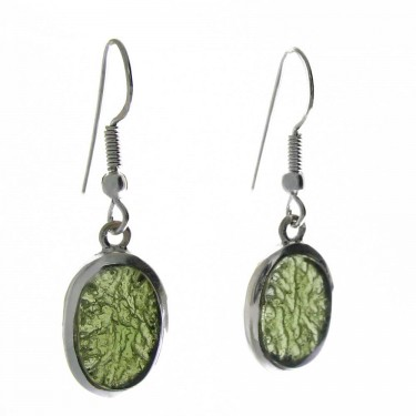Oval Moldavite Dangle Earrings