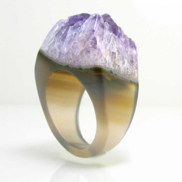 Brazilian Agate Crystal Ring Size 9
