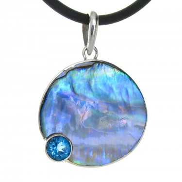 Paua Shell and Blue Topaz Pendant