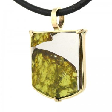 Pallasite from Fukang China in 14kt Gold