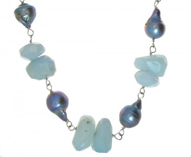 Aquamarine and Silver Pearl Necklace and Earrings