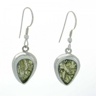 Pear Cut Moldavite Earrings