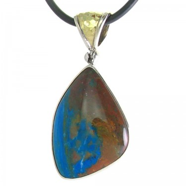 Peruvian Opal Pendant in Silver and Gold
