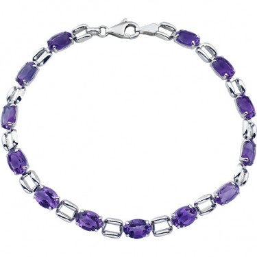 Larger Amethyst in 14kt  White Gold Bracelet