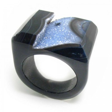 Agate Crystal Ring Size 8