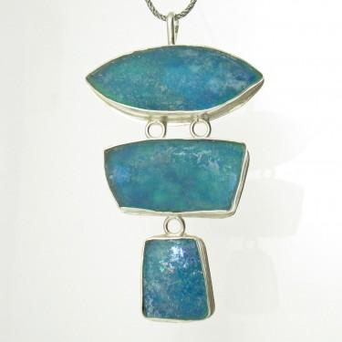 Three Piece Freeform Roman Glass Pendant