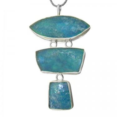 Three Piece Freeform Roman Glass Pendant