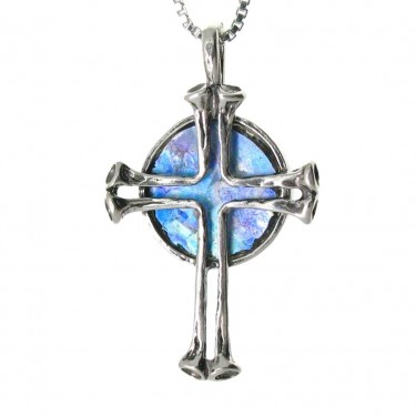 Silver Cross with Roman Glass Background