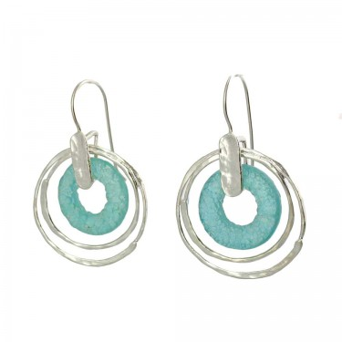 Sea Green Roman Glass Earrings