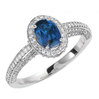 Sapphire and Diamonds in 14kt White Gold