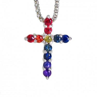 Rainbow Sapphire Cross