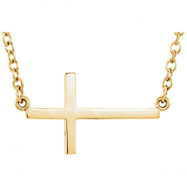 14kt Gold Sideways Cross on Chain