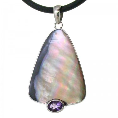 Penguin Shell and Amethyst Pendant