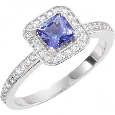 Tanzanite and Diamonds in 14kt White Gold