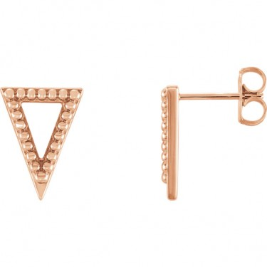 14kt Rose Gold Triangle Earrings