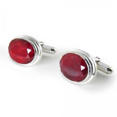 Ruby Cufflinks in Sterling Silver