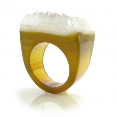 Brazilian Agate Crystal Ring Size 6.5